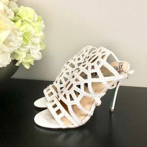 BETSEY JOHNSON Corey Ivory Satin Beaded Heels 8